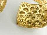 Yves Saint Laurent Gold-Plated Heart Cuff Bracelet - 1980's