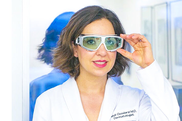An image of Dr. Heidi wearing her protective eyewear for laser hair reduction treatments.