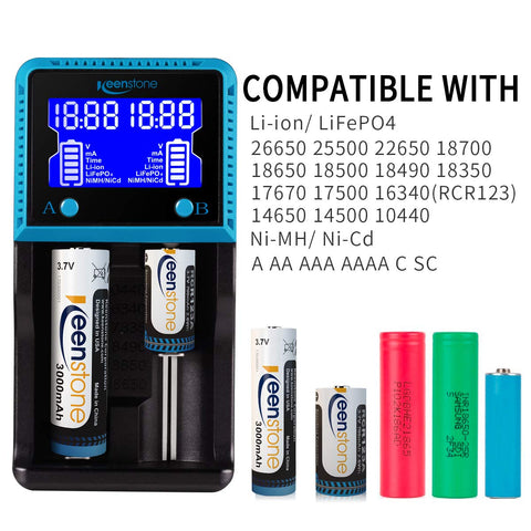 Keenstone Battery Charger, Keenstone Fast Smart Charger LCD Display for Rechargeable Batteries Ni-MH Ni-Cd AA AAA Li-ion LiFePO4 IMR 10440 14500 16340 18650 RCR123A 26650