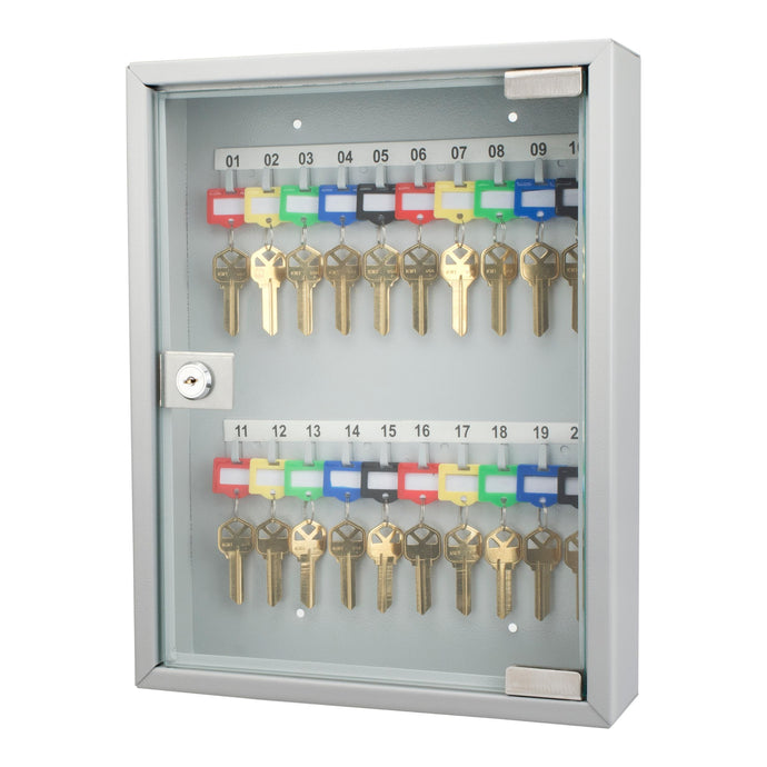 20 Keys Lock Box Gray W- Glass Door