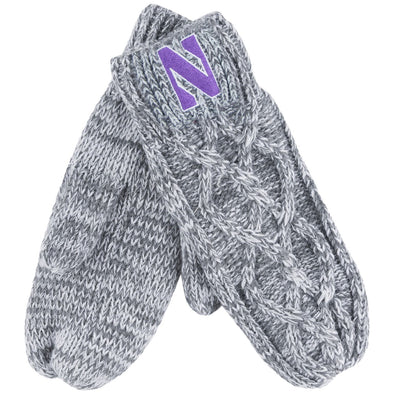Northwestern Wildcats Grey Mittens