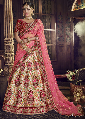 Exquisite Peach and Maroon Wedding Wear Lehenga