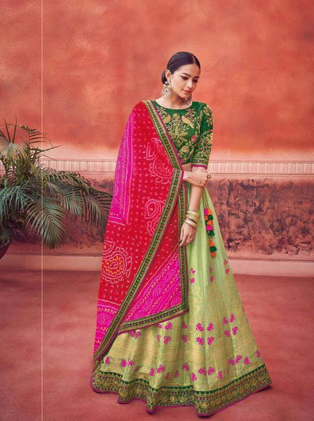 Green and Pink Silk Wedding Wear Lehenga