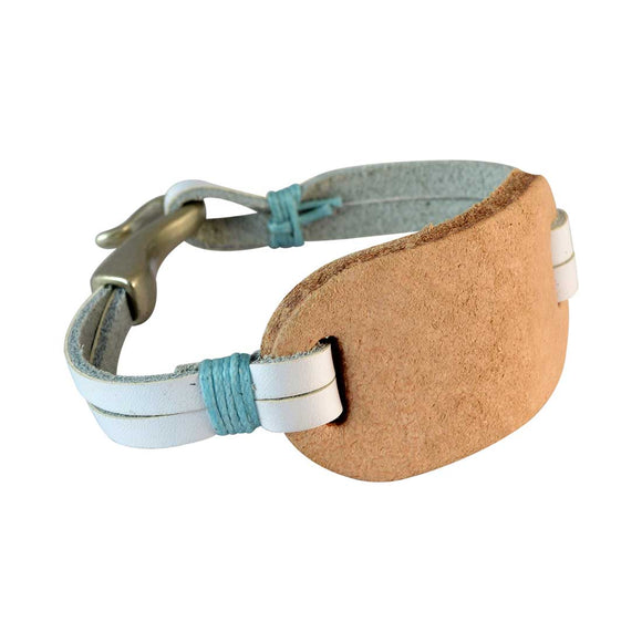 Sarah Men Leather Bracelet White color for Everyday wear