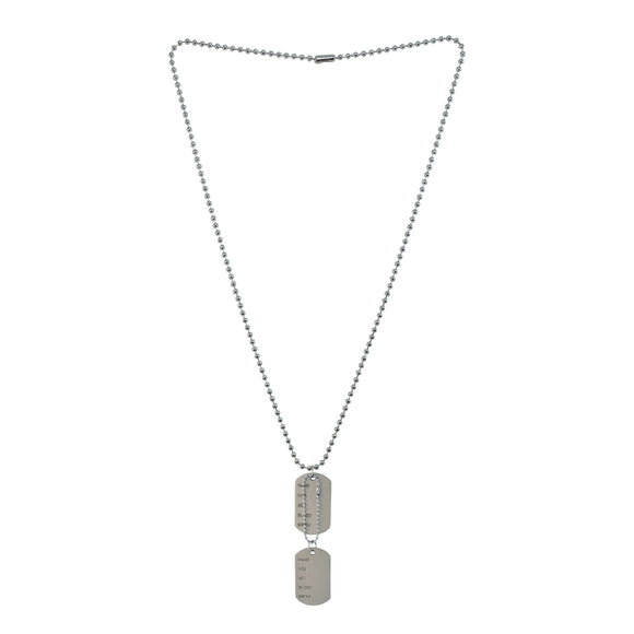 Sarah Military Theme Pendant Necklace/Dog Tag For Men - Silver Tone