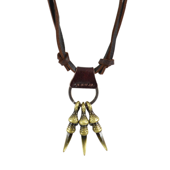 Sarah Tiger Claws Pendant Adjustable Leather Cord Necklace For Men - Brown