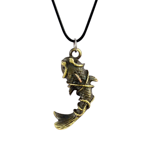 Sarah Fish Trapped Hook Pendant Necklace for Men - Gold