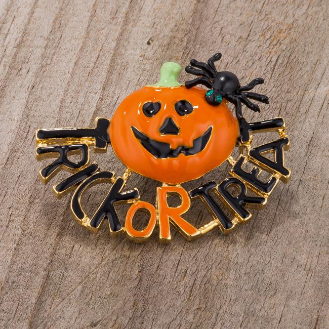 Jack-O-Lantern Brooch With Crystals