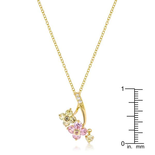 Golden Floral Couplet Pendant