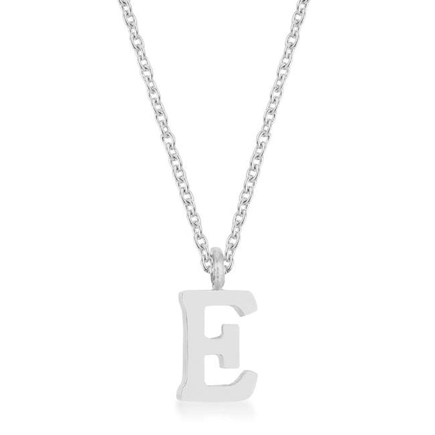 Elaina Rhodium Stainless Steel E Initial Necklace