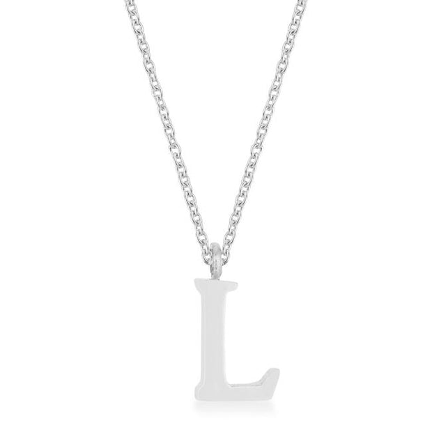 Elaina Rhodium Stainless Steel L Initial Necklace