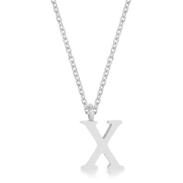 Elaina Rhodium Stainless Steel X Initial Necklace