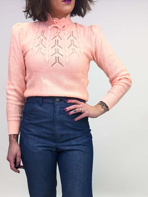 Vintage Peach Sweater : Small : Shortcake Sweater
