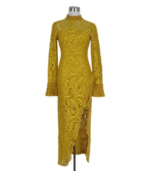 Alexis Yellow Lace Silk Long Sleeve Dress 1