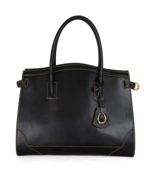 Cece Cord black leather yellow stitching tote 1