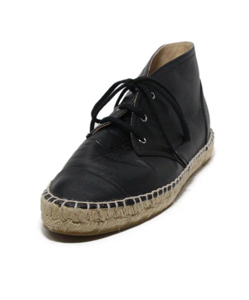 Chanel black leather espadrilles 1