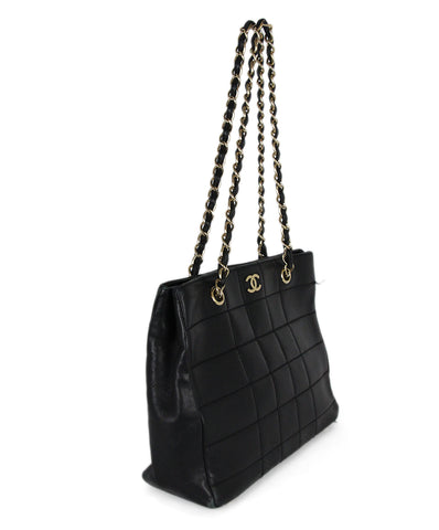 Chanel Black Leather Quilted Tote Handbag 1