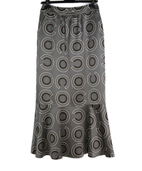 Chanel grey brown print skirt 1