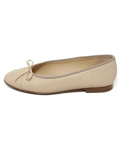 Chanel neutral beige iridescent leather flats 1