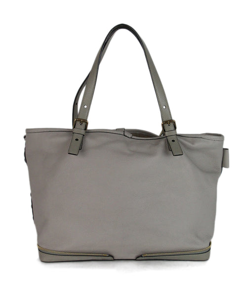 Chloe Ellen Grand Tote neutral canvas Taupe leather bag 1