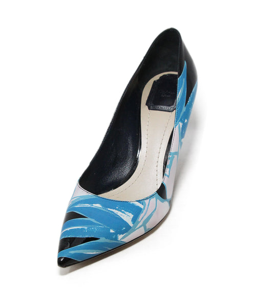 Christian Dior blue white black patent leather heels 1