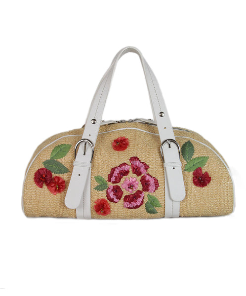 Christian Dior tan Raffia white pink leather floral bag 1