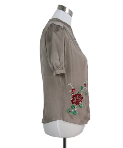 Christian Dior taupe silk red green sequin blouse 1