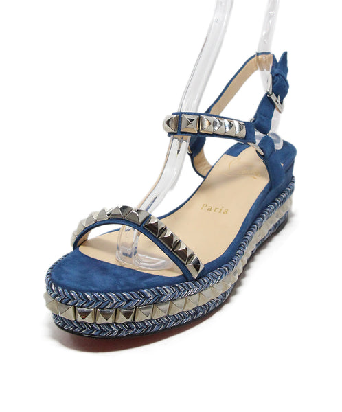 Christian Louboutin Blue suede silver stud sandals 1