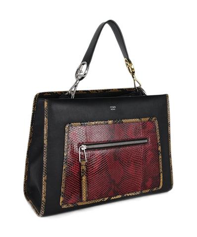 Fendi black red leather python tote 1