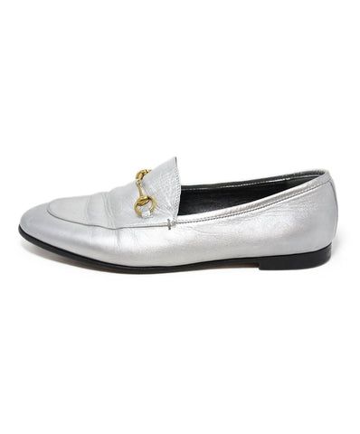 Gucci Silver Leather Loafers 1