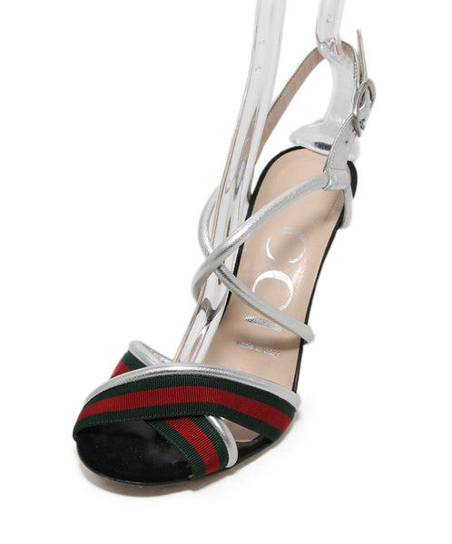 Gucci Black Suede Green Red Silver Sandals 1
