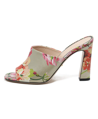 Gucci gold pink floral leather mules 1