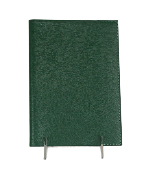 Hermes green leather notebook cover 1