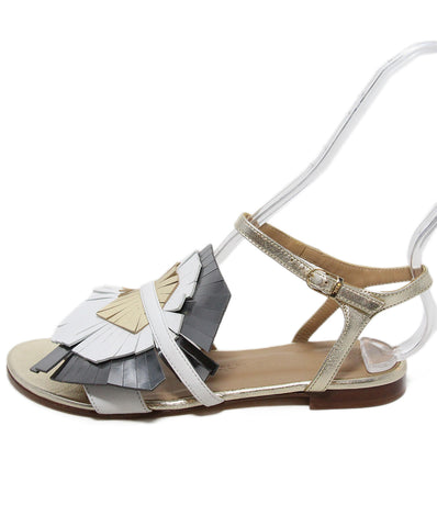 Italy White Gold Leather Sandals 1