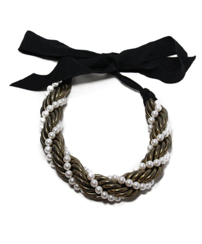 Lanvin Gold Pearl Black Ribbon Necklace 1