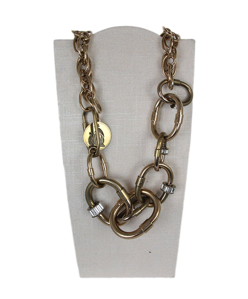 Lanvin metallic gold links rhinestone necklace 1