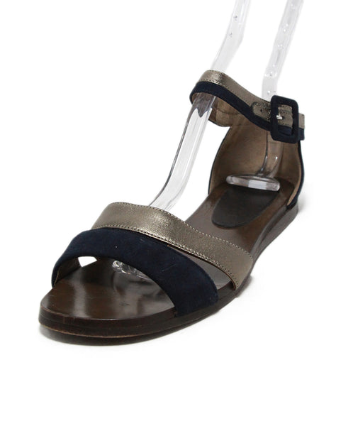 Marni Navy Pewter Leather Suede Sandals 1