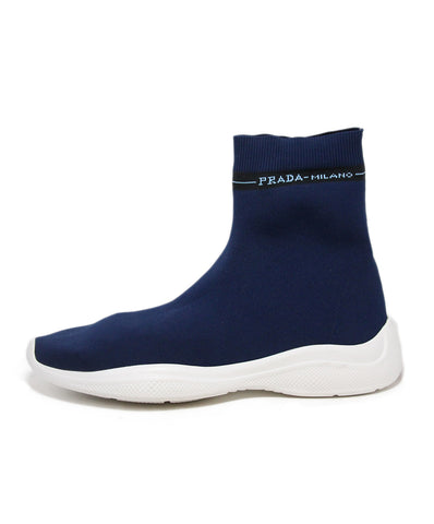Prada Blue Nylon White Trim Sneakers 1