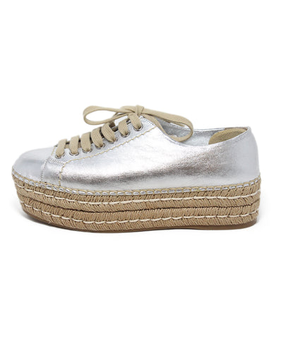 Prada Silver Metalic Leather Espadrille Sneakers 1