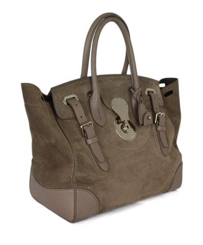 Ralph Lauren taupe suede Rickey Bag 1