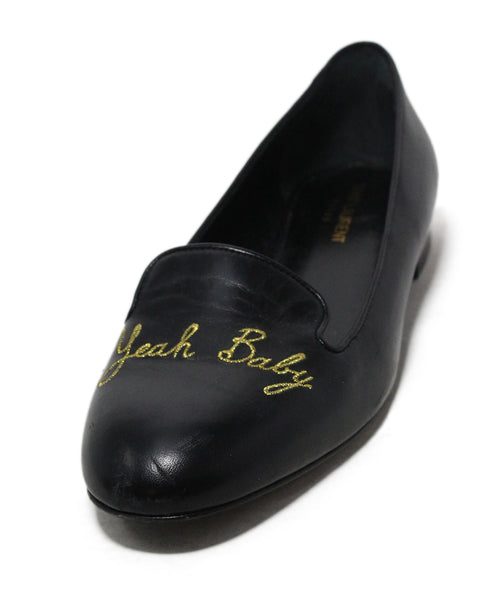 Saint Laurent Yeah Baby Black Leather Flats 1