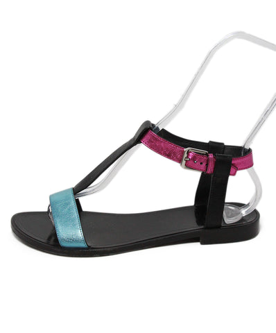 Saint Laurent metallic pink turquoise sandals 1