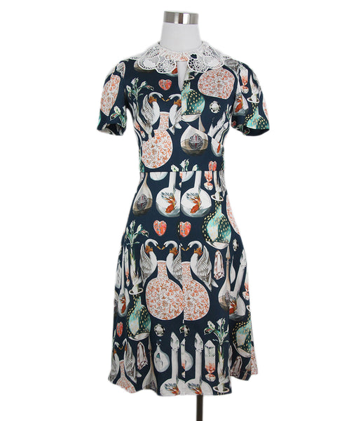 Temperley of London green print white trim dress 1