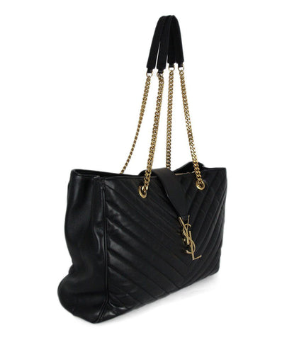 YSL Black Leather Quilted Handbag 1
