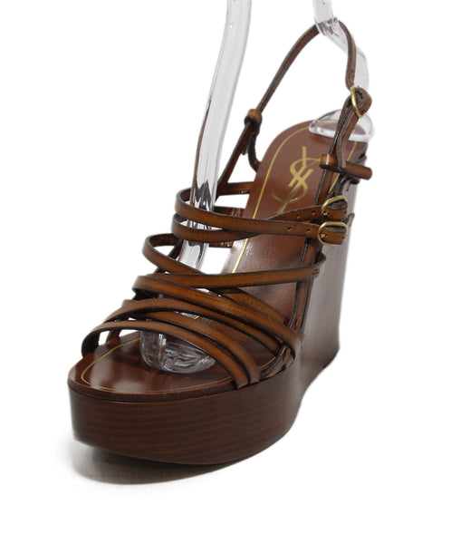 YSL brown leather wedges 1