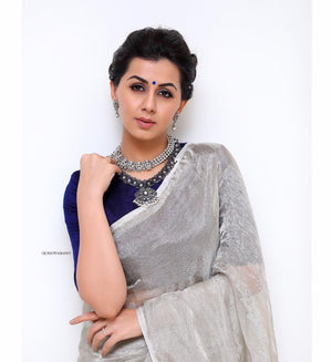 Silver pure tissue saree