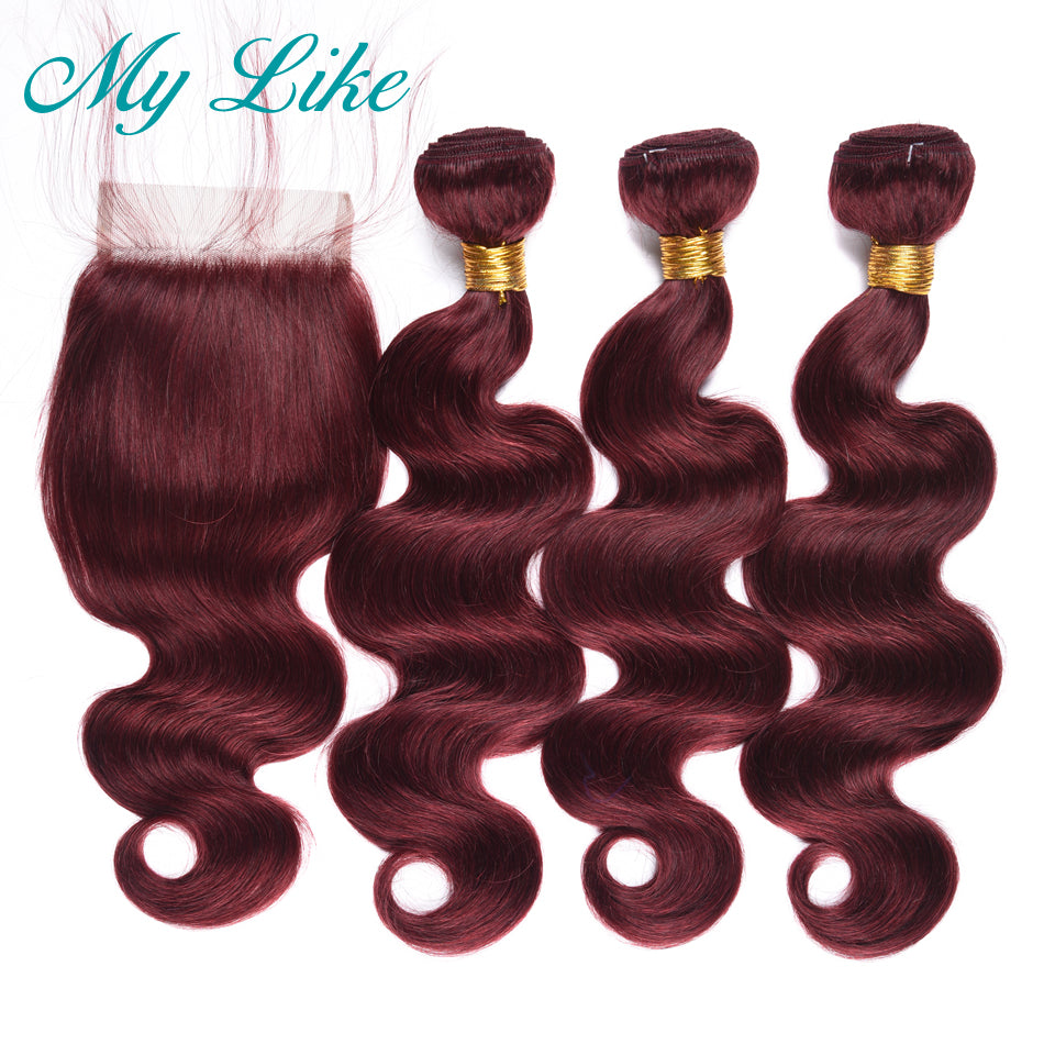 My Like Pre-colored Raw Indian Hair Body Wave Bundles With Closure 99J Red Burgundy 3Pcs