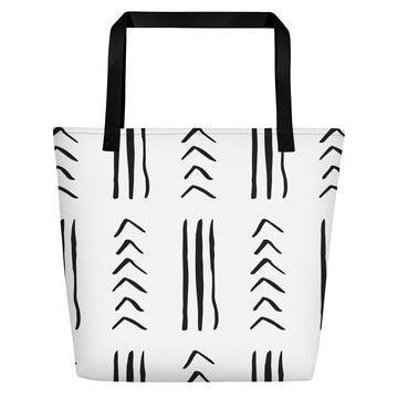 Quality African Mudcloth-inspired Beach/ Pool Tote Bag