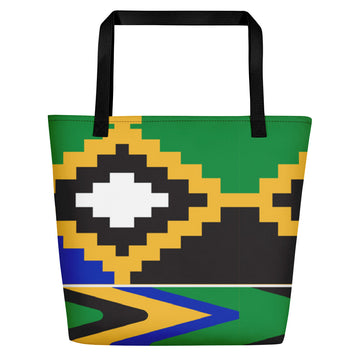 Premium Design Boho Style Green Kente-inspired  Beach Tote Bag