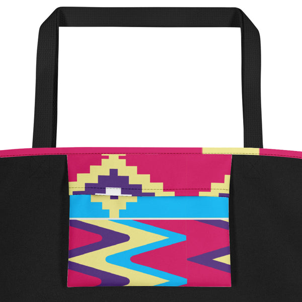 Premium Design Blue & Pink Kente-inspired Beach Tote Bag